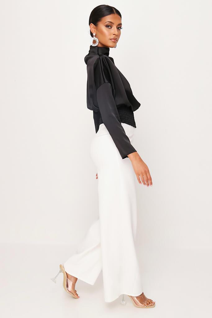 Black High Neck Gathered Waist Blouse view 3