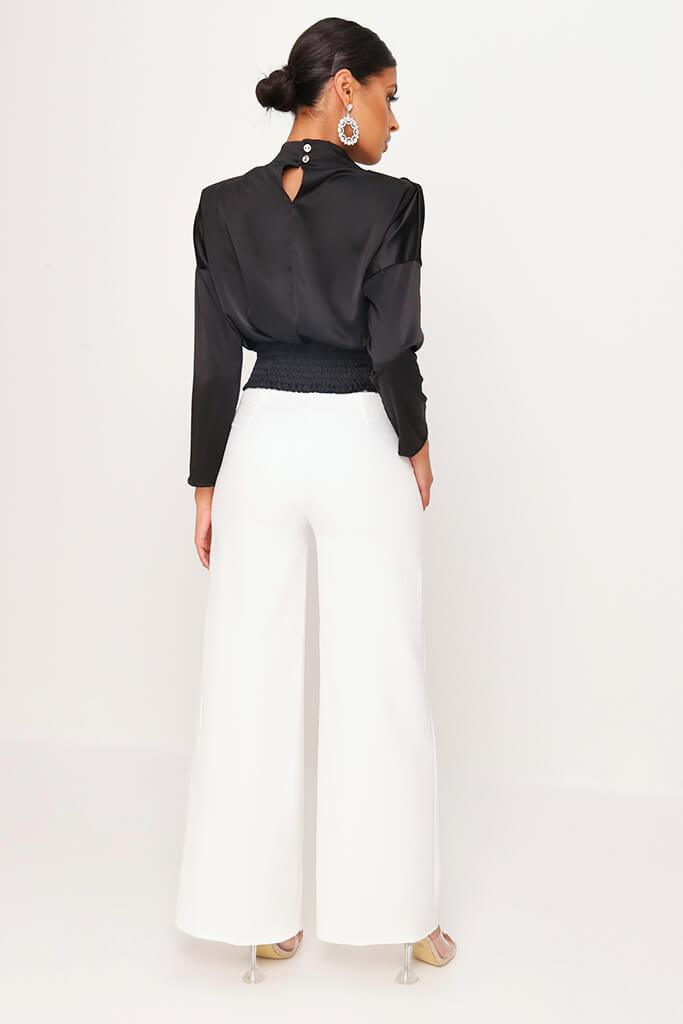 Black High Neck Gathered Waist Blouse view 5