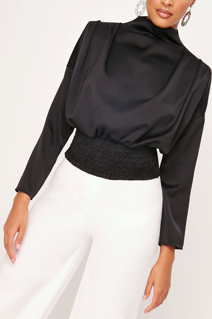 Black High Neck Gathered Waist Blouse view 4