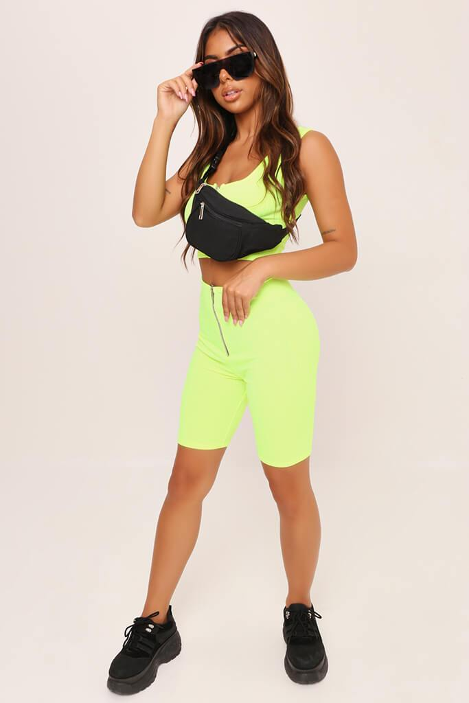 Neon Green Ribbed Jersey Cycling Shorts view 2