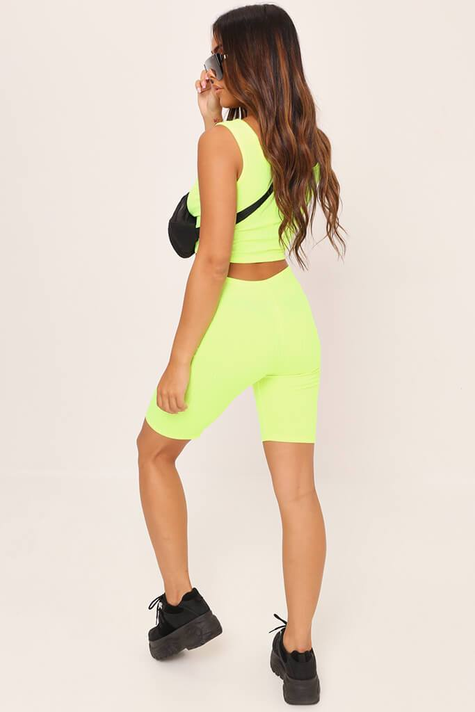 Neon Green Ribbed Jersey Cycling Shorts view 5