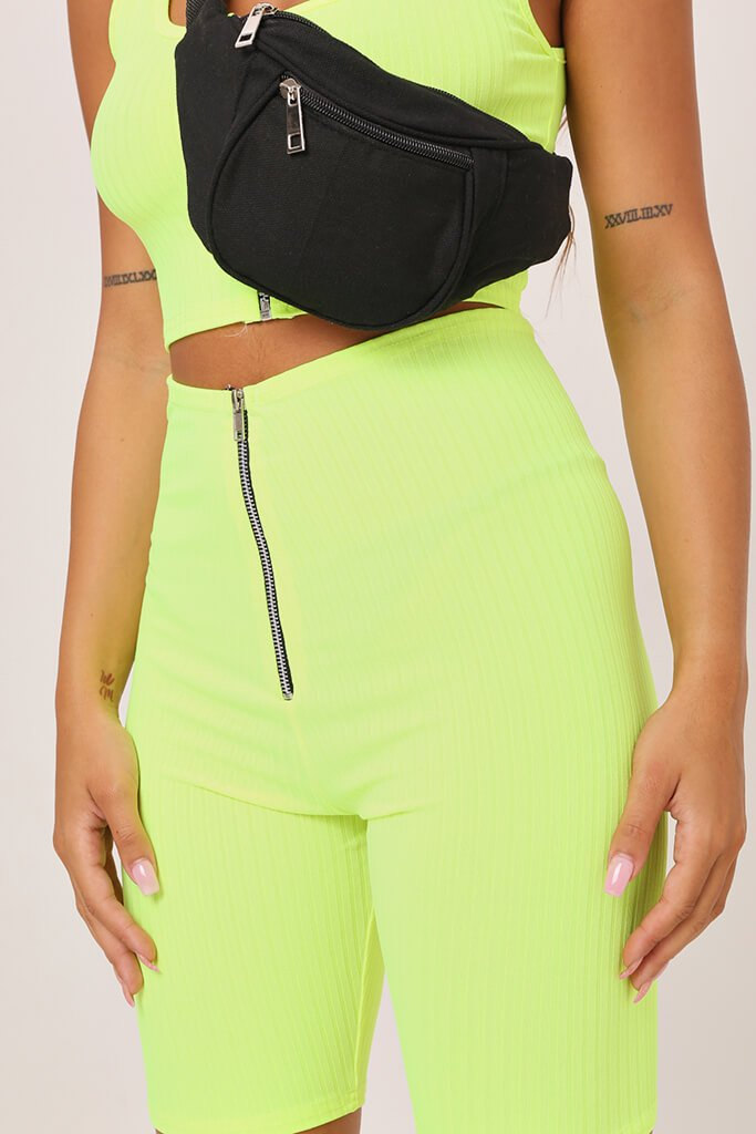 Neon Green Ribbed Jersey Cycling Shorts view 4