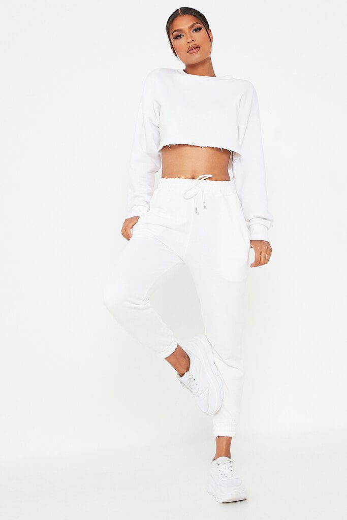 White Cropped Raw Hem Jersey Sweatshirt view 2