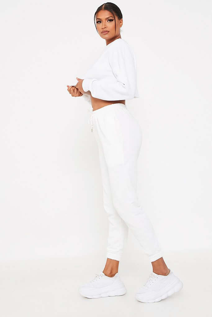 White Cropped Raw Hem Jersey Sweatshirt view 3