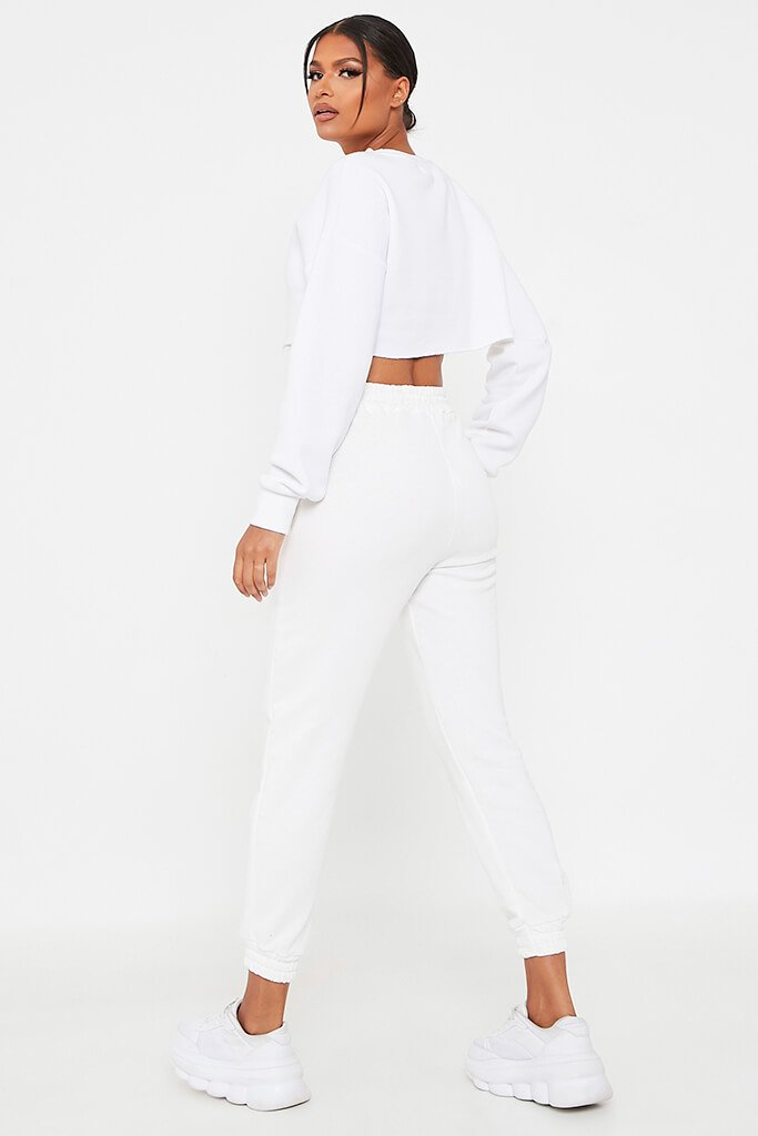 White Cropped Raw Hem Jersey Sweatshirt view 5