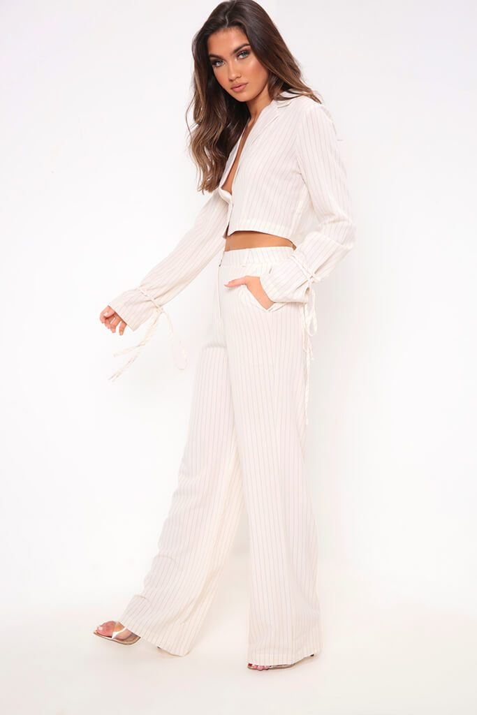 Cream Pinstripe Wide Leg Trousers view 3