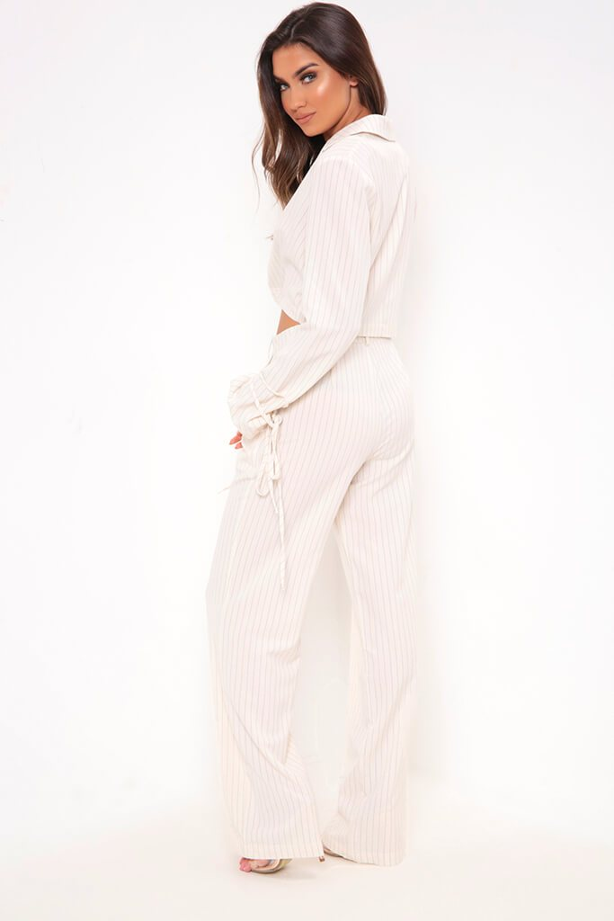 Cream Pinstripe Wide Leg Trousers view 5