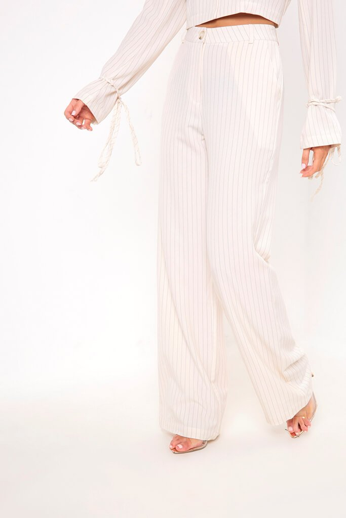 Cream Pinstripe Wide Leg Trousers view 2