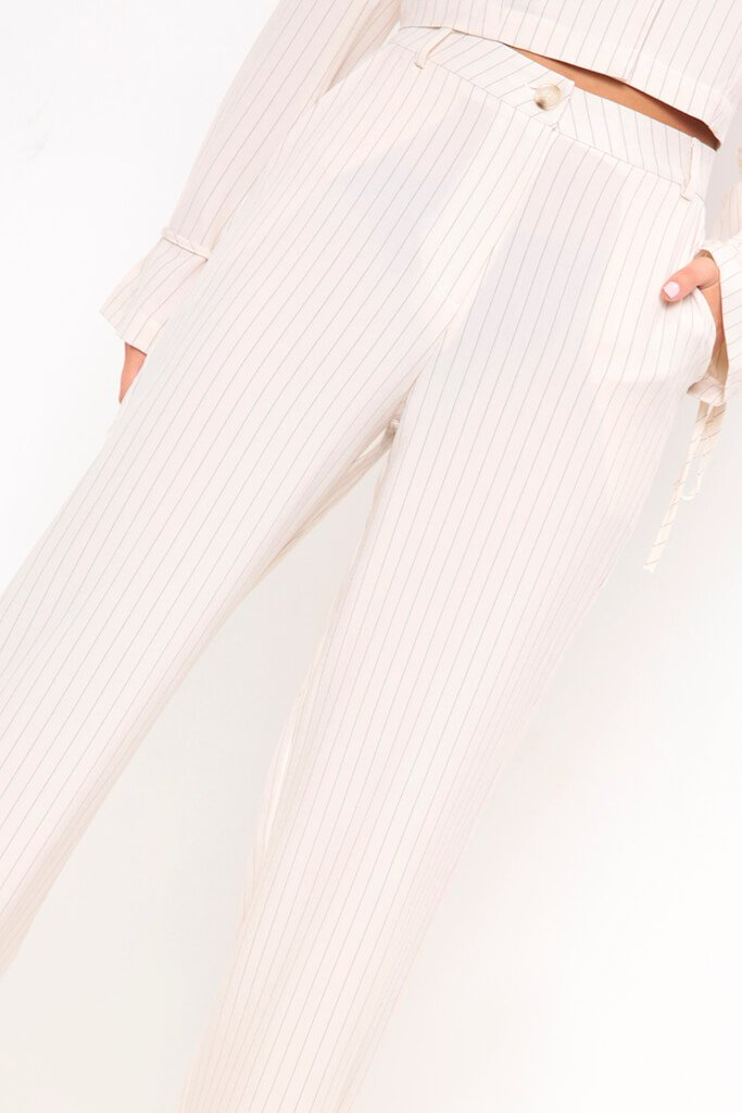 Cream Pinstripe Wide Leg Trousers view 4