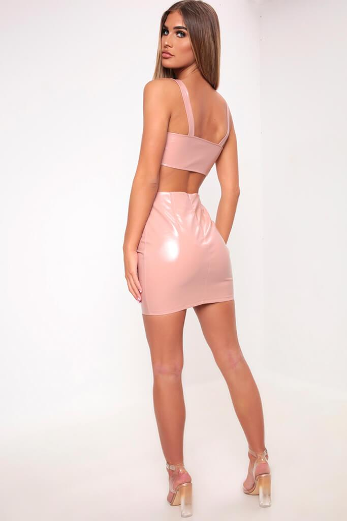 Nude Faux Leather Lace Up Crop Top view 5