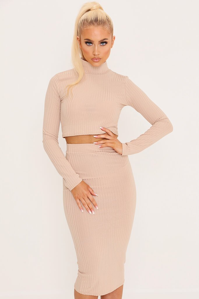 Camel Ribbed Long Sleeve Crop Top view main view