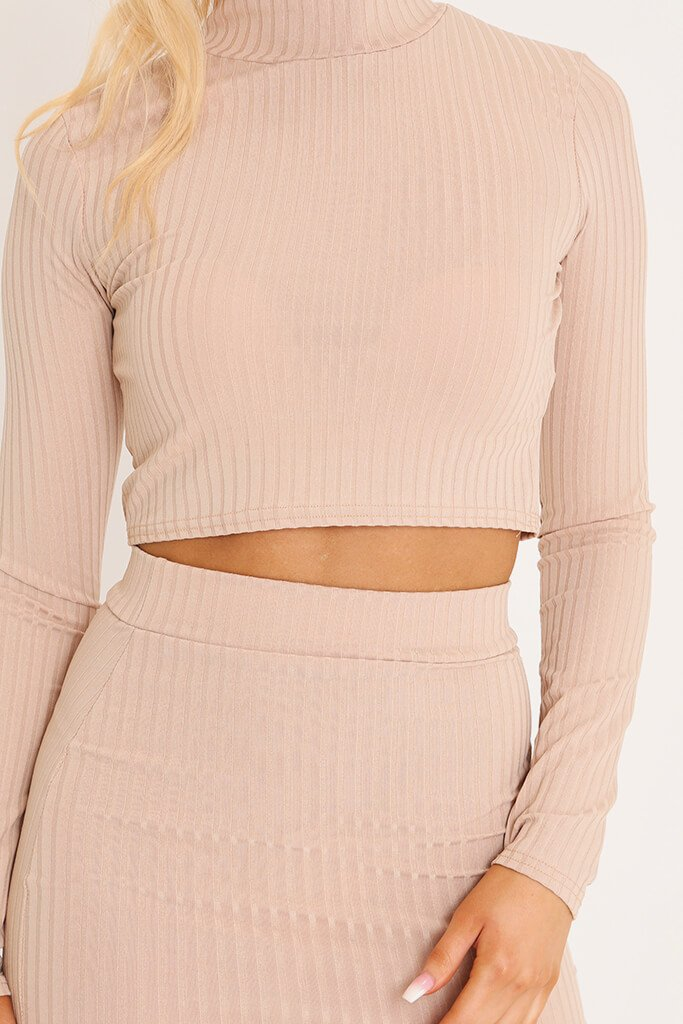 Camel Ribbed Long Sleeve Crop Top view 4