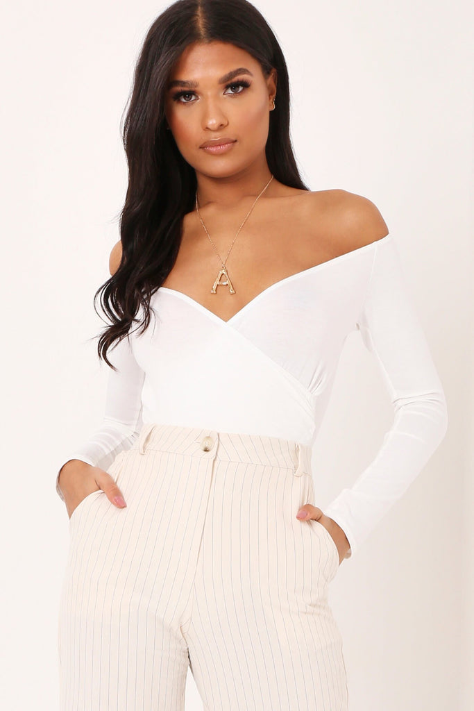 White Long Bardot Sleeve Wrap Bodysuit view main view