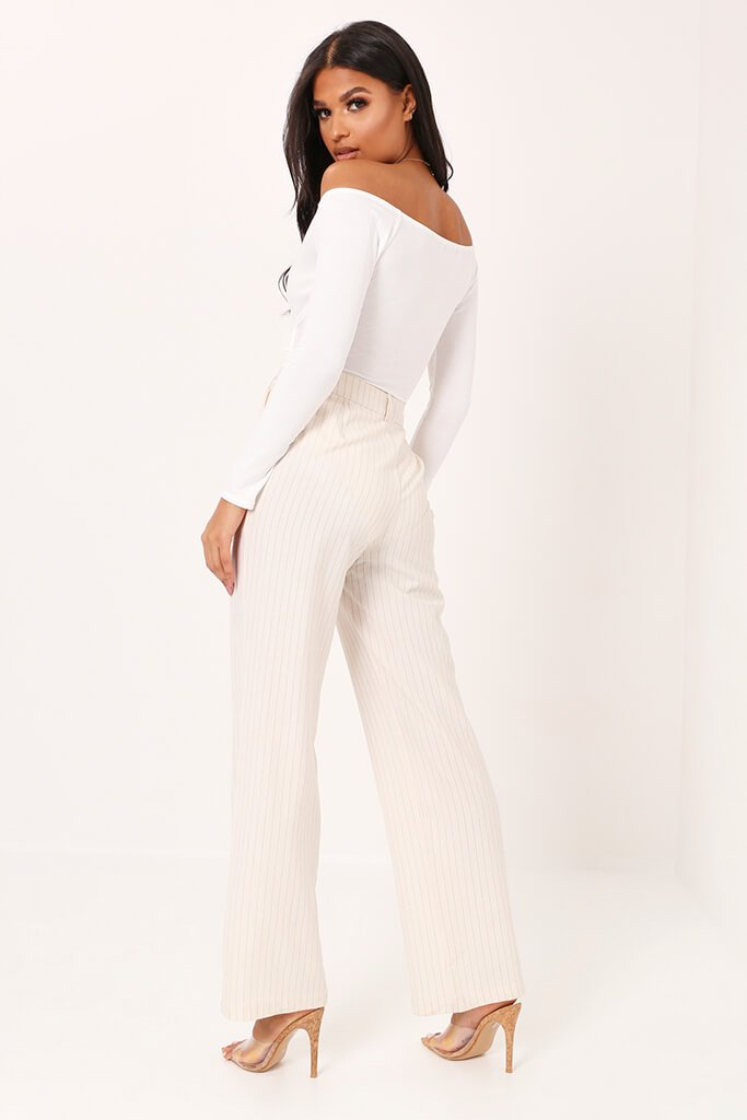 White Long Bardot Sleeve Wrap Bodysuit view 5