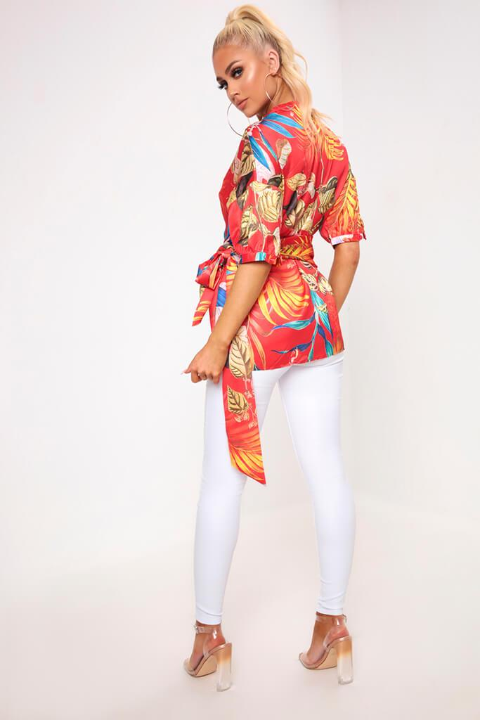 Red Floral Print Wrap Front Top view 5