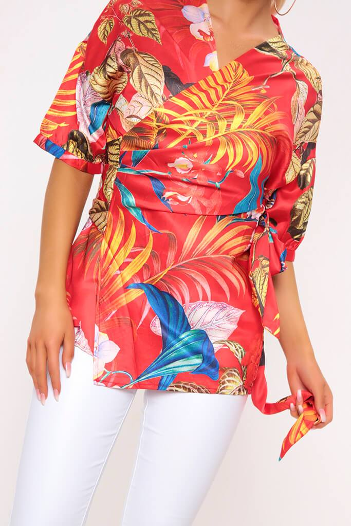Red Floral Print Wrap Front Top view 4