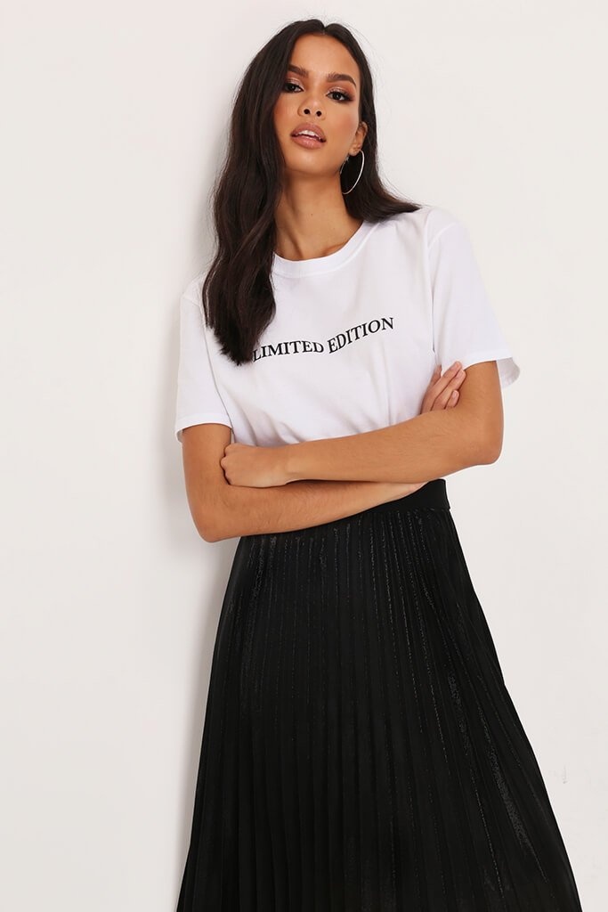 White Limited Edition Slogan Print Oversized T-Shirt
