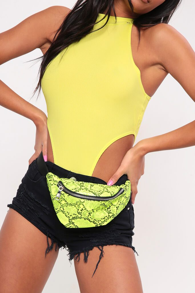 Lime Green Super High Rise High Neck Rib Bodysuit view 4