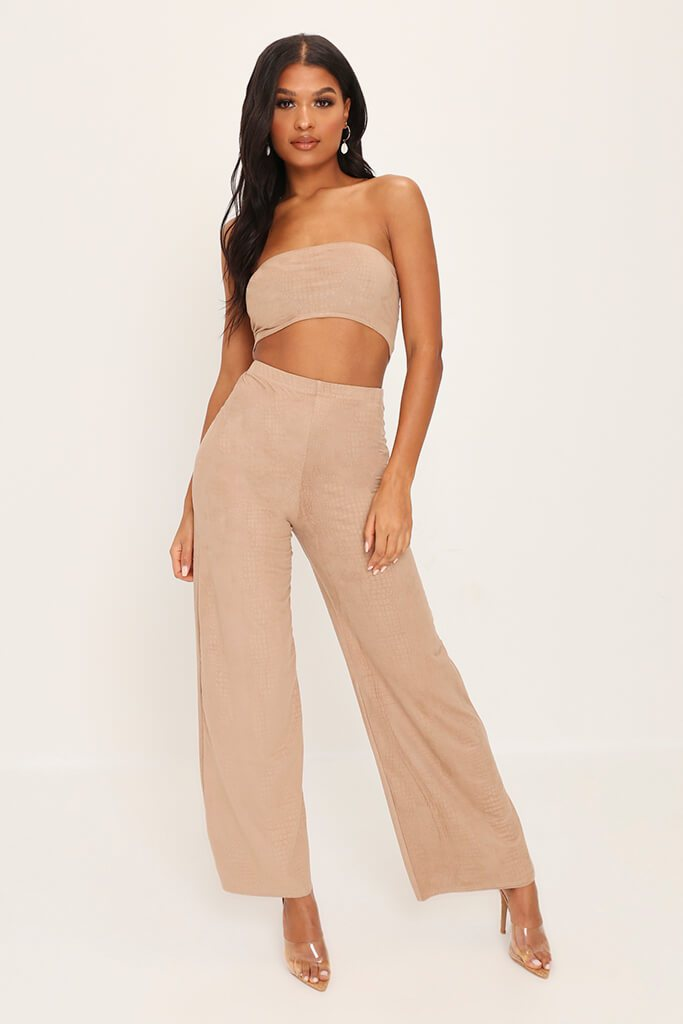 Stone Suede Tie Back Crop Top view main view