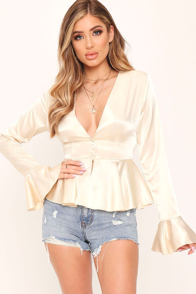 Ivory Button Front Plunge Satin Blouse