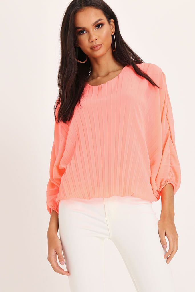 Coral Long Batwing Sleeve Pleated Top