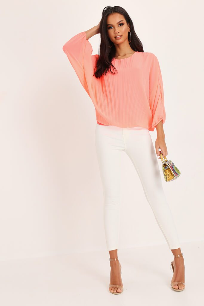 Coral Long Batwing Sleeve Pleated Top view 2