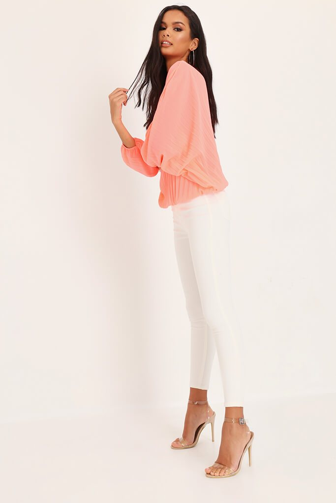 Coral Long Batwing Sleeve Pleated Top view 3