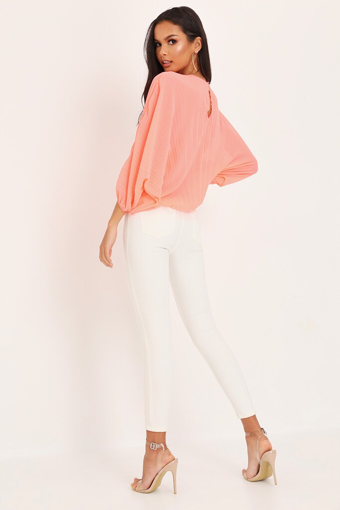 Coral Long Batwing Sleeve Pleated Top view 5