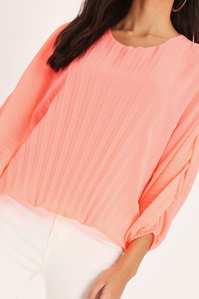 Coral Long Batwing Sleeve Pleated Top view 4
