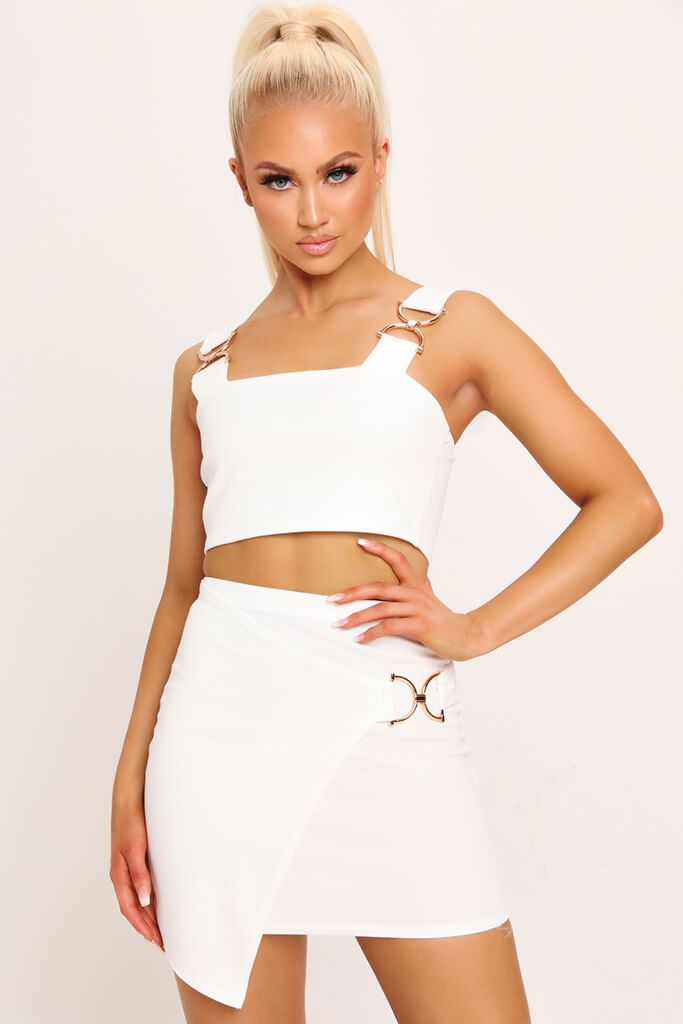 White Buckle Crop Top