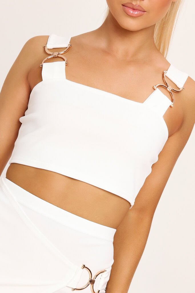 White Buckle Crop Top view 4