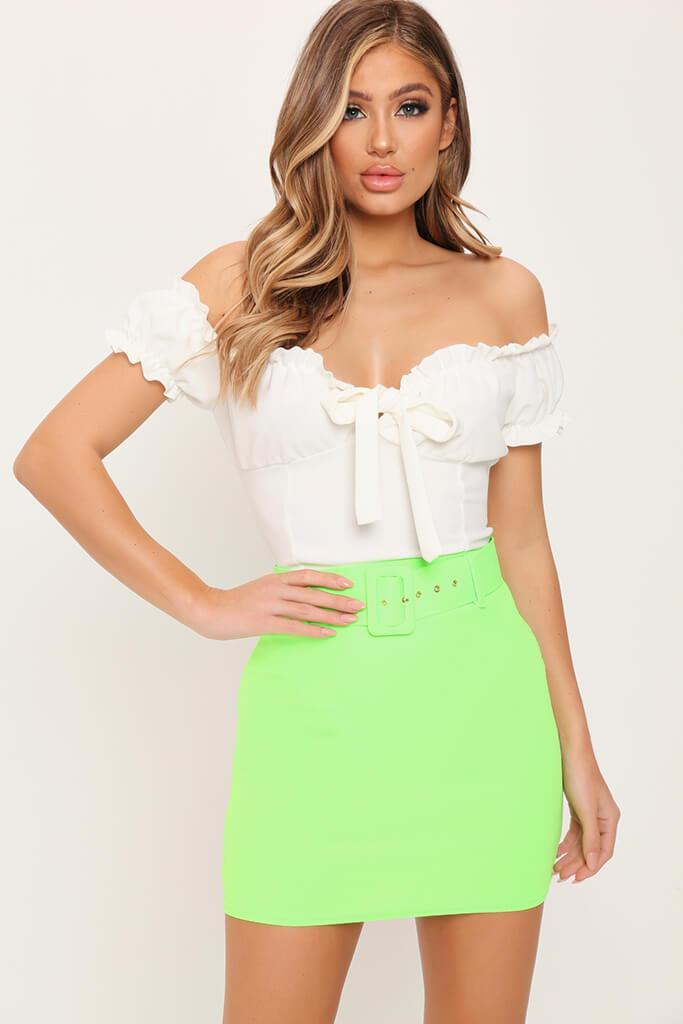 Lime Green Belted Mini Skirt view main view