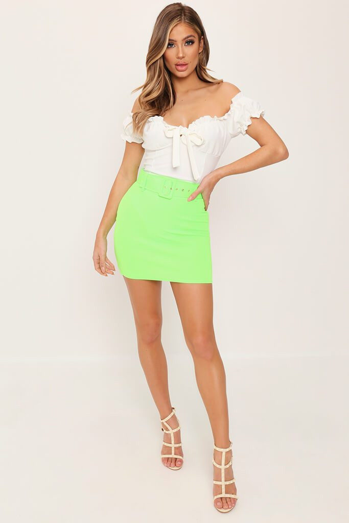 Lime Green Belted Mini Skirt view 2