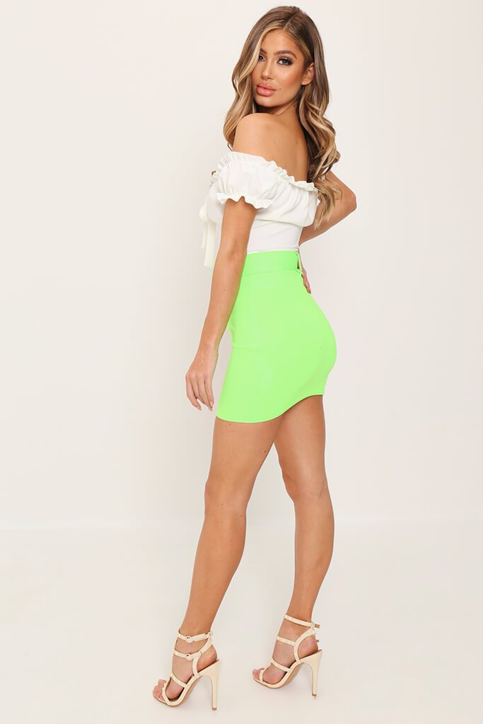 Lime Green Belted Mini Skirt view 4