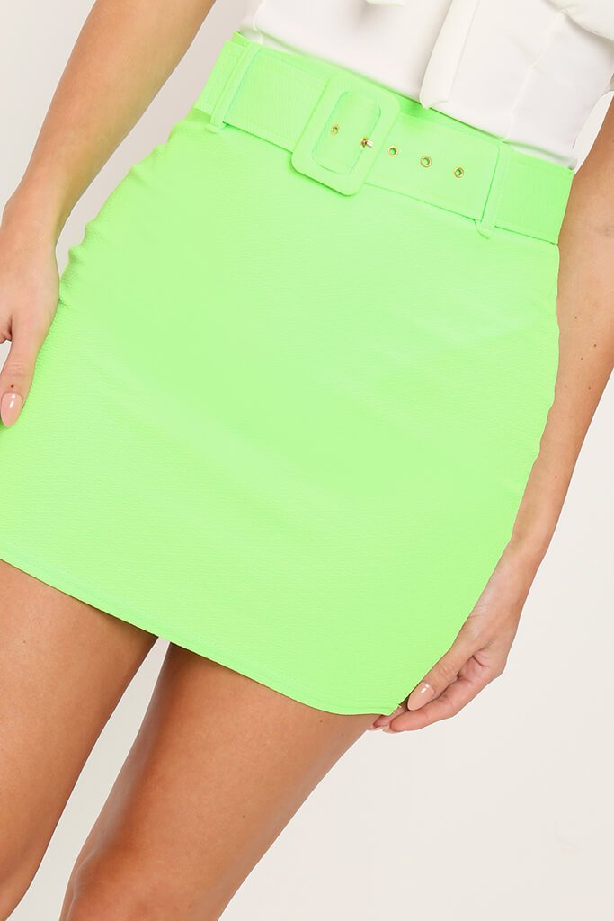 Lime Green Belted Mini Skirt view 3