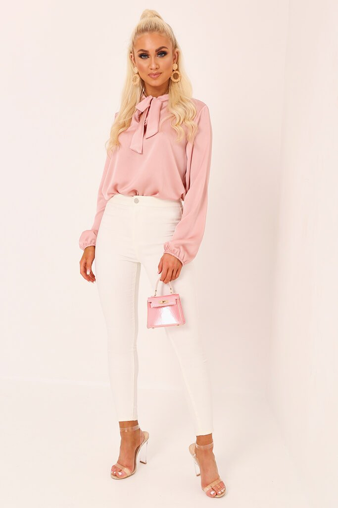 Blush Pink Tie Neck Satin Blouse view 2