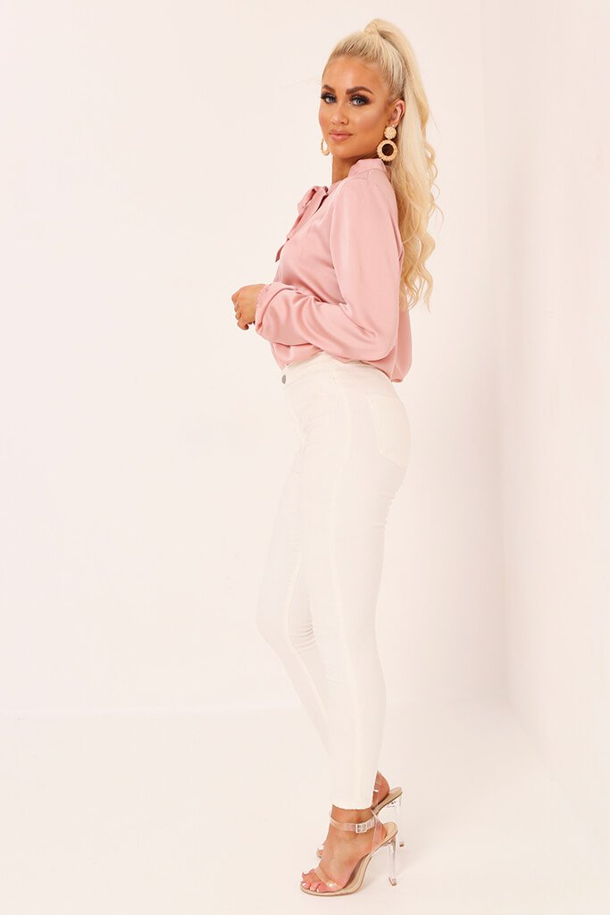 Blush Pink Tie Neck Satin Blouse view 3