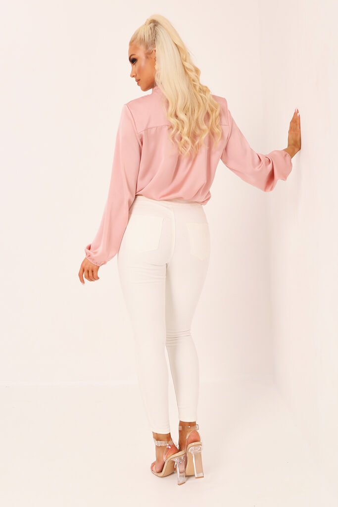 Blush Pink Tie Neck Satin Blouse view 5