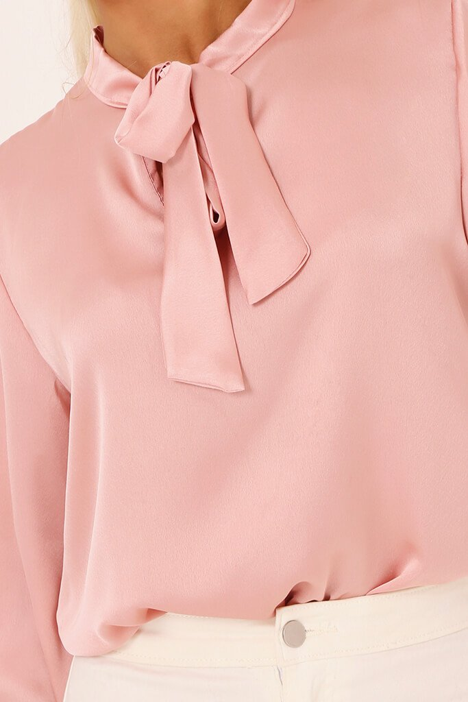 Blush Pink Tie Neck Satin Blouse view 4