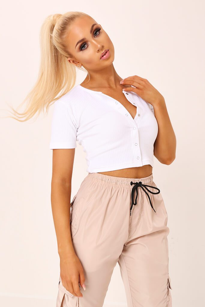 White Popper Detail Ribbed Cropped T-Shirt