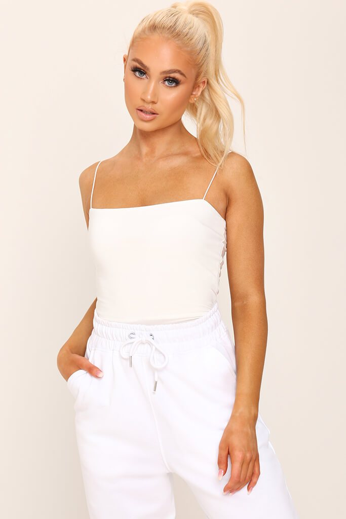 White Double Layer Square Neck Bodysuit view 3