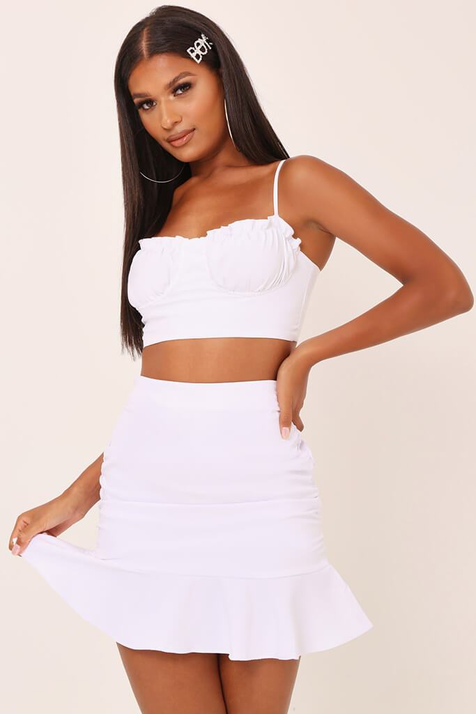 White Bust Cup Balcony Bralet