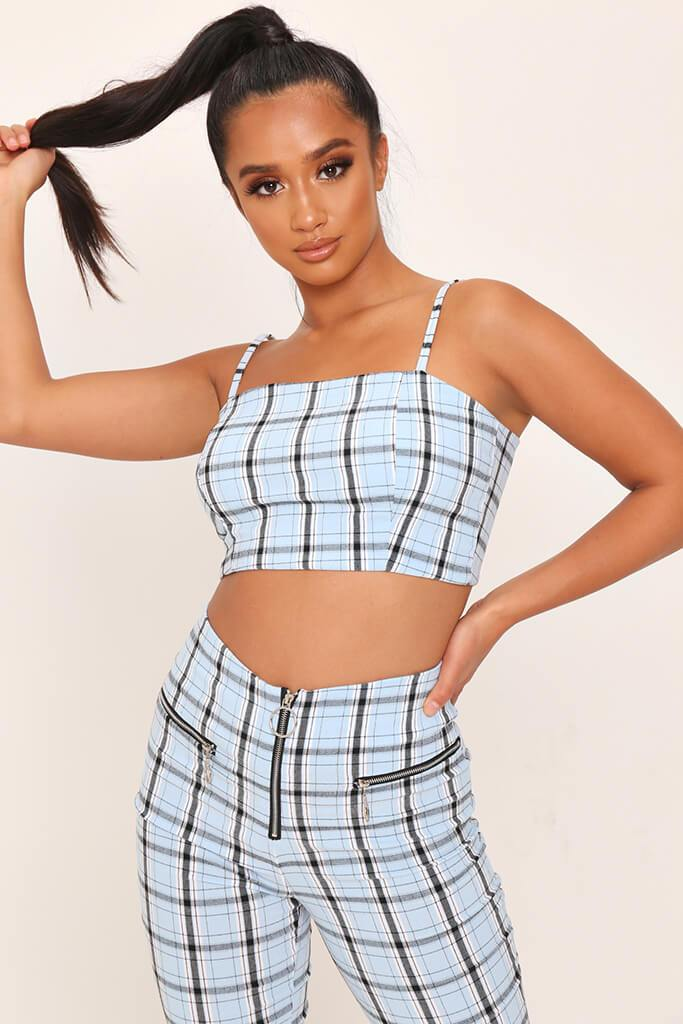 Light Blue Checked Zip Back Cami Crop Top