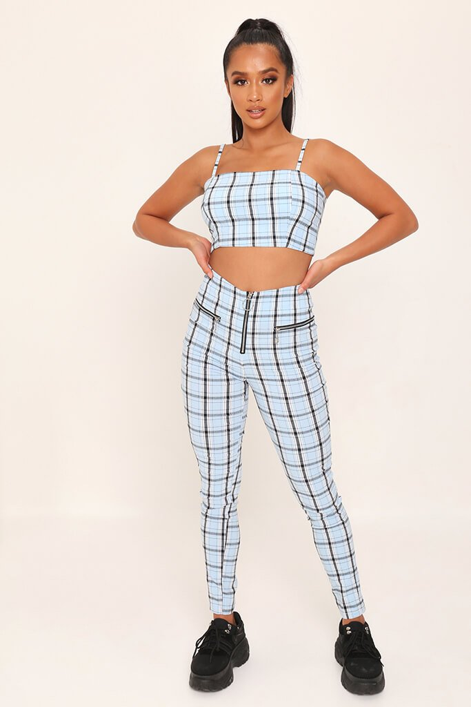 Light Blue Checked Zip Back Cami Crop Top view 2