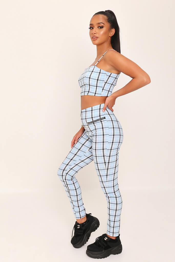 Light Blue Checked Zip Back Cami Crop Top view 3