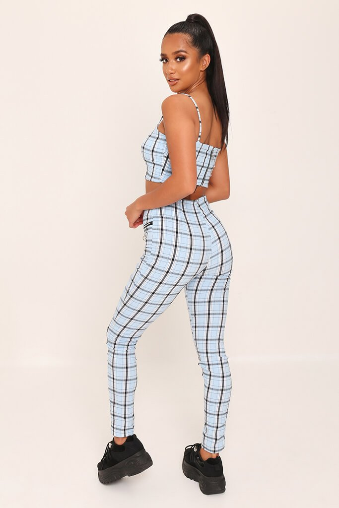 Light Blue Checked Zip Back Cami Crop Top view 5