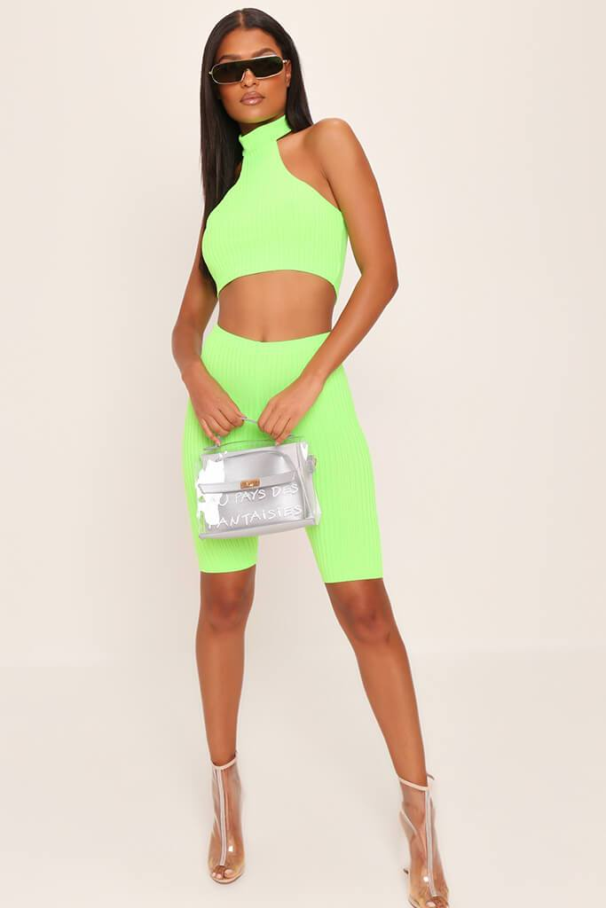 Neon Lime Racer Halterneck Ribbed Crop Top view 2