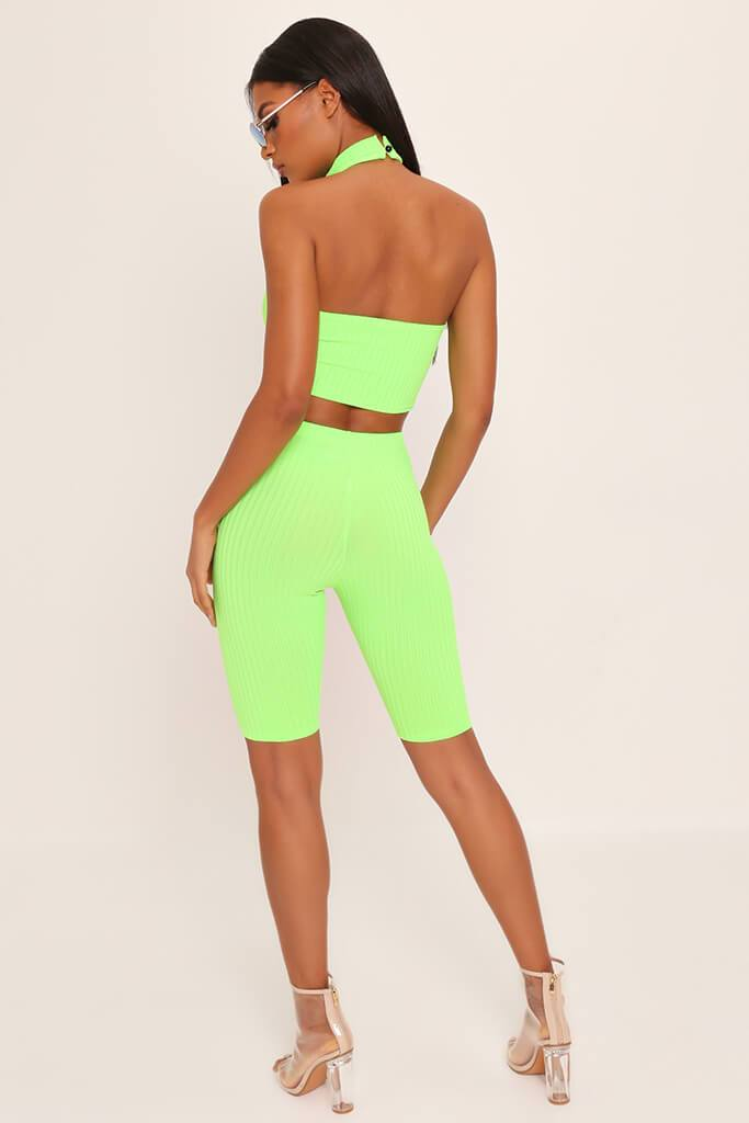 Neon Lime Racer Halterneck Ribbed Crop Top view 5