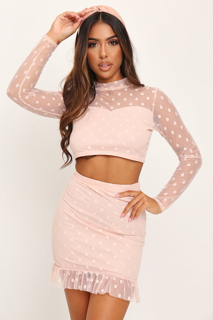 Nude Dobby Mesh Frill Sleeve Crop Top