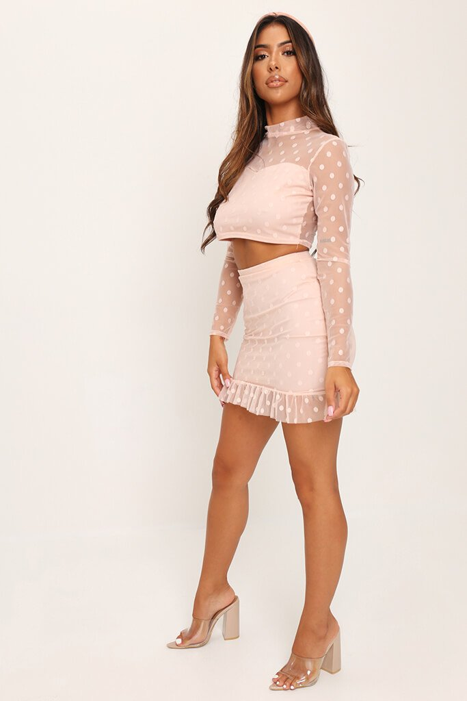 Nude Dobby Mesh Frill Sleeve Crop Top view 5